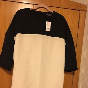 NEW VINCE Black and Cream Dress